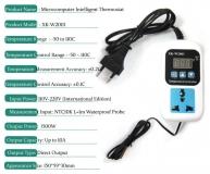 Цифровой контроллер регулятор температуры с термопарой, VKS-W2001, -50°С ~ +120°C, 110-220В, ток управления 10A, красный дисплей