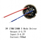 Драйвер для фонарика 5-mode 3.0В - 4.2В выход 3.0В - 3.7В 700мА LED Driver диаметр подложки 17мм для светодиодов XRE-Q5, XPE, XP-E, XBD, XB-D