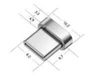 Магнитный адаптер Type-C - серебристый