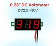 Бескорпусной электронный встраиваемый вольтметр 2,5В-30В (зеленый, 3 разряда) 0,28
