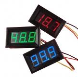 Электронный встраиваемый вольтметр 0В-300В (красный, постоянное напряжение)