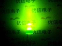 Светодиод зеленый, 5мм, 2.5В, 4 мА-14 мА