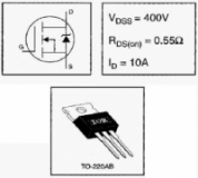 IRF740PBF IRF740, MOSFET N-канал (400В, 10А, 125Вт,  0.55 Ом)