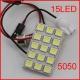 Светодиодная сборка 15 smd 5050 светодиодов, белый цвет, 12В с переходниками T10 BA9S