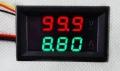 Сдвоенный вольтметр/амперметр (0-100В/0-9.99А) (красный + зеленый цвет, встроенный шунт, 3 разряда)