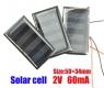Поликристаллическая солнечная батарея 2В 55мА , размер 30 х 36 х 2 мм