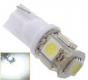 Светодиодная лампа для автомобиля цоколь T10, 12В 2Вт 5 SMD светодиодов 5050 белый цвет