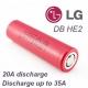 Аккумулятор LG HE2 IMR18650 3.7В 2500мАч, 8.76Wh, максимальный ток 20А, импульсный ток 35А
