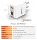 Двойной интеллектуальный USB-адаптер от прикуривателя 2 х 5В 2.1А с вольтметром, амперметром и термометром °F, красный дисплей