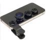 Набор  съемных объективов 3-в-1 широкоугольный (рыбий глаз), макро и панорамный для смартфонов и Iphone