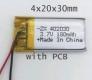 Литий-полимерный аккумулятор 3,7В  042030 402030 180mAh (устройства: Bluetooth, MP3, MP4  )