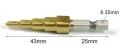 Сверло ступенчатое 4-12мм, шаг 2мм сталь HSS, с шестигранным хвостовиком