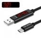 Кабель USB - USB Type C 1м 3А с встроенным вольтметром и амперметром, нейлоновая + металлическая помехозащищенная оплетка