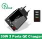 Адаптер питания - зарядное устройство AC 100-240В - 3 порта USB, 2 USB 5В 2А и порт USB QC3.0 5В 3А - 9В 2А - 12В 1.6А, с вольтметром и амперметром (для зарядки планшетов и смартфонов)