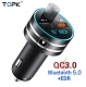 Автомобильный Bluetooth 5.0 FM-передатчик с MP3-проигрывателем и двойным зарядным устройством USB Quick Charge QC3.0, 5В 3А, 9В 2А, 12В 1.5А