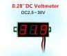 Бескорпусной электронный встраиваемый вольтметр 2,5В-30В (красный, 3 разряда) 0,28