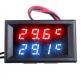 Двойной цифровой термометр -20°С +100°С два внешних NTC датчика, 4-28В, 4-х разрядный, красный+синий цвет