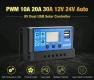 Солнечный контроллер заряда аккумуляторной батареи PWM-30A с ШИМ и USB-выходом (12В / 24В 30А)
